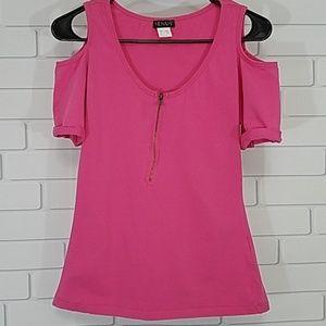 Venus Cold Shoulder Zip Up Top Pink Medium